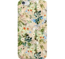 Hibiscus, Orchid, Rosebuds - White Blue Green iPhone Case/Skin