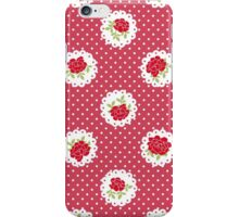 Shabby Chic, Polka Dots, Roses - Red Green White iPhone Case/Skin