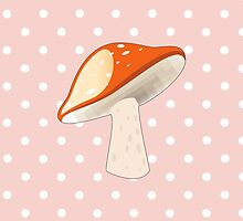 Spotted Mushroom, Toadstool, Stem - Red by sitnica
