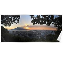 Volcano Eruption with Sunrise Panorama Poster