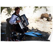 Old man and an accordion Poster