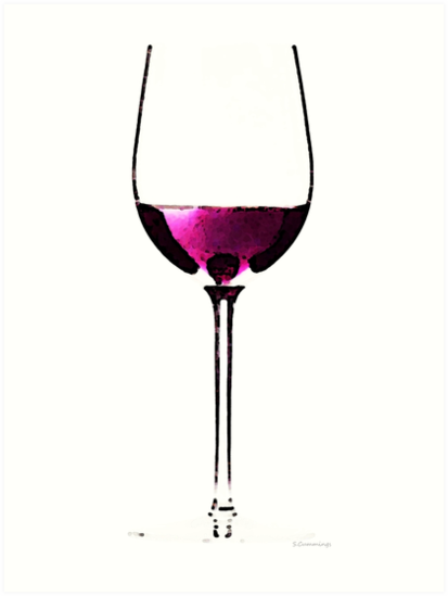 Abstract Red Wine Glass 2 by Sharon Cummings