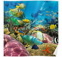 Man underwater coral reef and tropical fish Poster