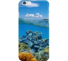 Over-under split view coral reef underwater iPhone Case/Skin