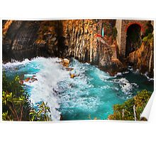 Crashing Waves at Riomaggiore Poster