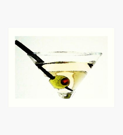 Martini With Green Olive Art Print