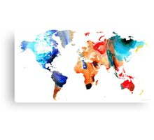 Map of The World 8 -Colorful Abstract Art Canvas Print