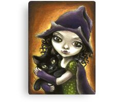 Little witch and black kitten by Tanya Bond Canvas Print