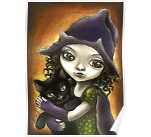 Little witch and black kitten by Tanya Bond Poster