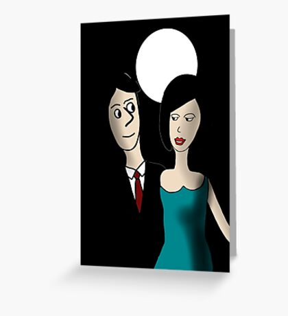 Walking under the Moon Greeting Card
