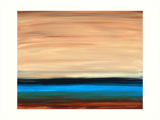 Perfect Calm - Abstract Earth Tone Landscape Blue by Sharon Cummings