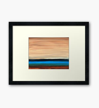 Perfect Calm - Abstract Earth Tone Landscape Blue Framed Print