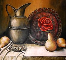 Bronz Pitcher Still Life by Pamela Plante