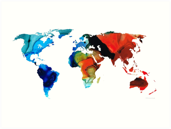 Map of The World 3 -Colorful Abstract Art by Sharon Cummings