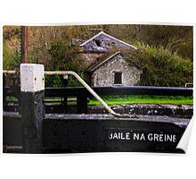 the lock keeper's cottage, Baile na Greine lock, the Barrow Navigation, County Carlow, Ireland. Poster