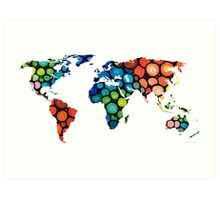 Map of The World 1 -Colorful Abstract Art Art Print