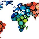 Map of The World 1 -Colorful Abstract Art by Sharon Cummings