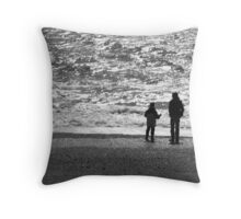 Figures on Chesil Beach Dorset Throw Pillow