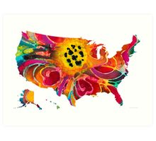 United States of America Map 3 - Colorful USA Art Print