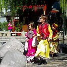 Children in costume exploring the Chinese Gardens of Friendship, Darling Harbour by Vanessa Pike-Russell