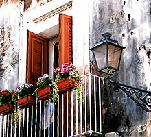 Balcony With Flower Boxes - Taormina,  Sicily by T.J. Martin