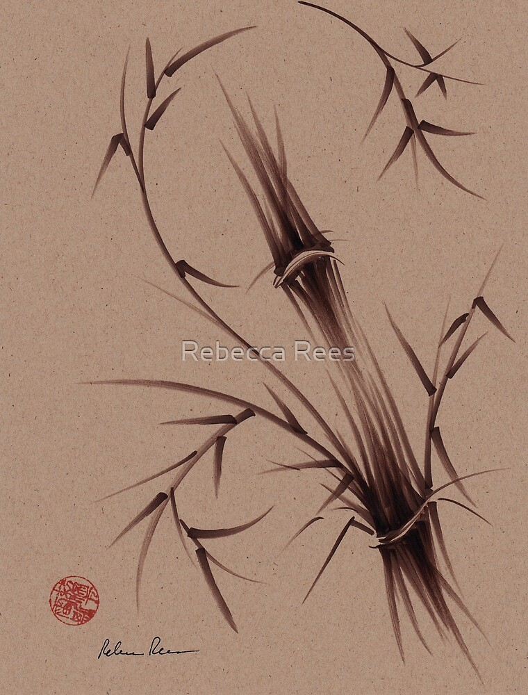 """""""As One""""  Original brush pen sumi-e bamboo drawing/painting by Rebecca Rees"""