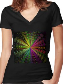 Abstract / Psychedelic Radial Pattern Women's Fitted V-Neck T-Shirt