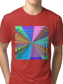Abstract / Psychedelic Tunnel of Colorful Shapes Tri-blend T-Shirt