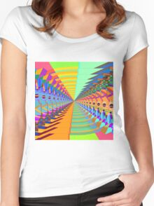 Abstract / Psychedelic Tunnel of Colorful Shapes Women's Fitted Scoop T-Shirt