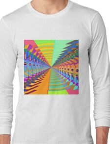 Abstract / Psychedelic Tunnel of Colorful Shapes Long Sleeve T-Shirt