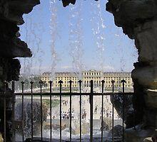 Schonbrunn Castle through the fountain, Vienna, Austria by toddnett