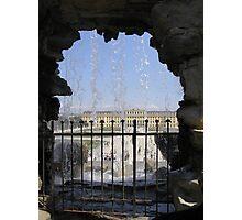 Schonbrunn Castle through the fountain, Vienna, Austria Photographic Print