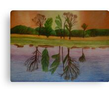 Five trees at dawn, reflected in the lake Canvas Print