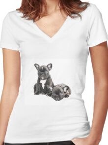 Two Frenchies Women's Fitted V-Neck T-Shirt
