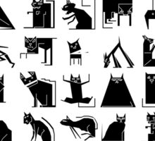 Black geometric cats design Sticker