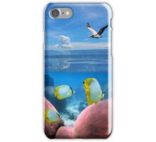 Tropical sea coral fish underwater and pelican flying  iPhone Case/Skin