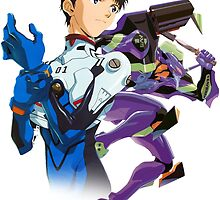 Shinji Ikari and Eva Unit-01 by DWorkshop