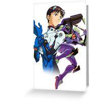 Shinji Ikari and Eva Unit-01 Greeting Card