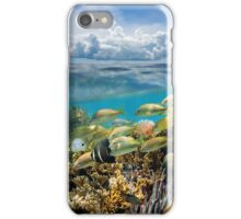 Underwater coral reef fish and sky cloud iPhone Case/Skin