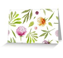 Flowers and Greens Pattern Greeting Card