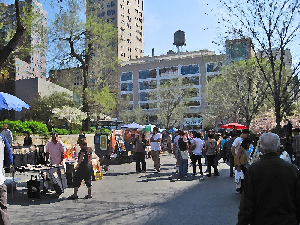 Union Square Park with Whole Food in background by Danny Drexler