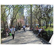 Union Square path and benches Poster