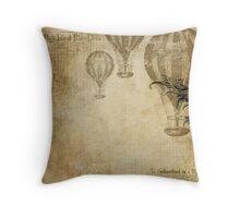 Vintage Steampunk Travel Pattern Throw Pillow
