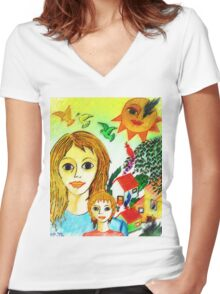 Mother's Day  Women's Fitted V-Neck T-Shirt