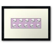 Pastel Skulls- White Framed Print