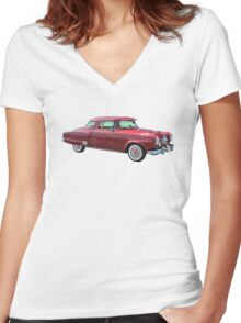 1950 Studebaker Champian Antique Car Women's Fitted V-Neck T-Shirt