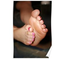 Rubbing creamed feet Poster