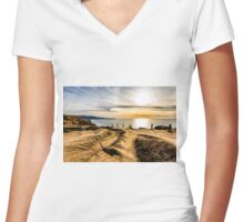 VIEW FROM THE BLUFF Women's Fitted V-Neck T-Shirt