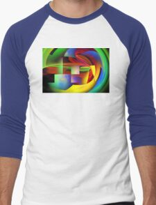 Computer Generated Abstract Fractal Flame Men's Baseball ¾ T-Shirt