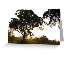 rural sillhouettes at sunset Greeting Card